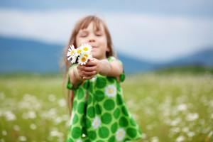 Child at camomile field