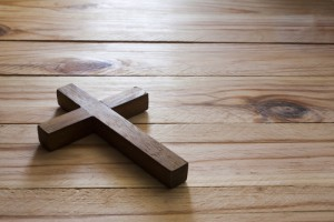 Cross over  wood table with window light